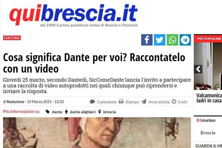 """Qui Brescia presenta """"Cosa significa Dante per me?"""""""