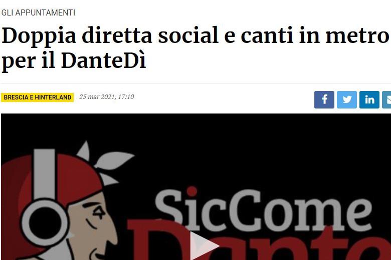 Il Giornale di Brescia racconta il Dantedì