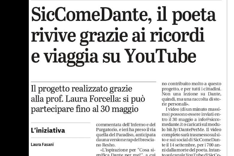 """""""Cosa significa Dante per me?"""" spiegato dal Giornale di Brescia"""
