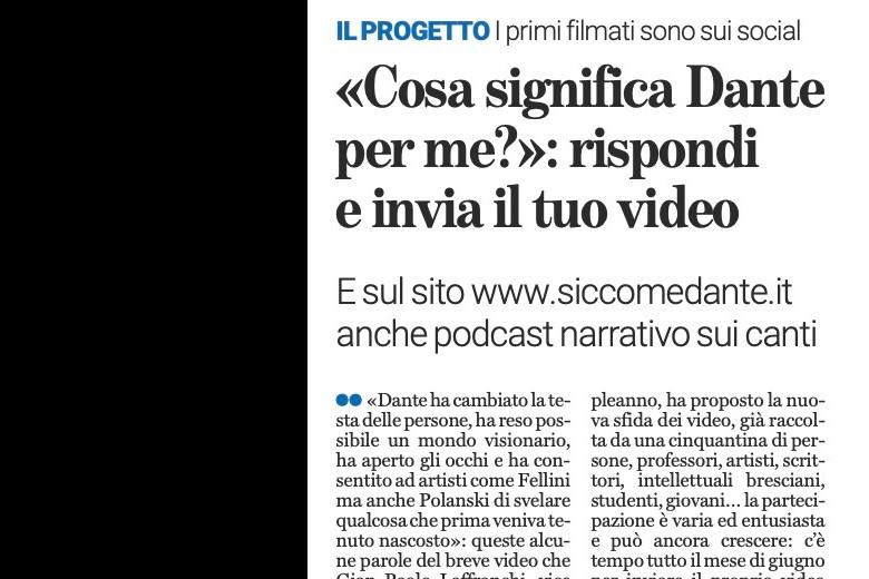 """""""Cosa significa Dante per me"""" su Bresciaoggi"""